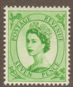 SG524 7d Bright Green  1952 Tudor Crown Upright Watermark (Wilding Stamps)